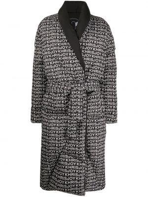 С рукавами черное стеганое пальто с лацканами с перьями Khrisjoy