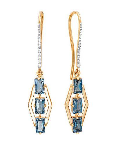 Золотые серьги с топазом с фианитом ювелирные традиции