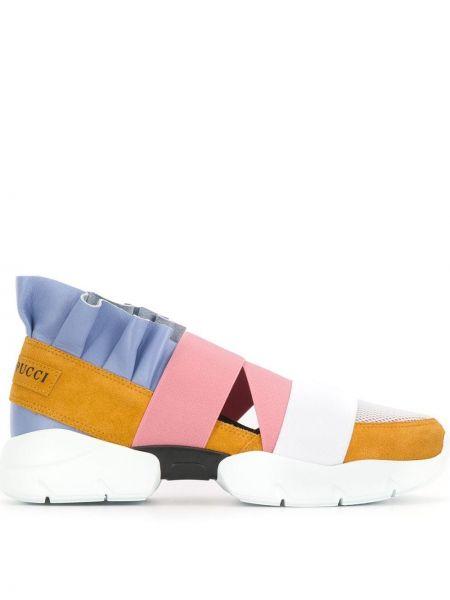 Miejski niebieski skórzane sneakersy z prawdziwej skóry na pięcie Emilio Pucci