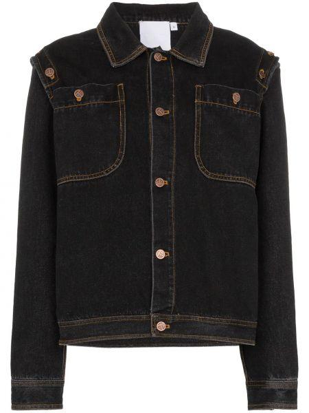 Хлопковая классическая черная джинсовая куртка с воротником Telfar