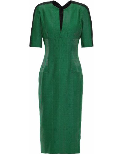 Шерстяное кружевное зеленое платье Amanda Wakeley