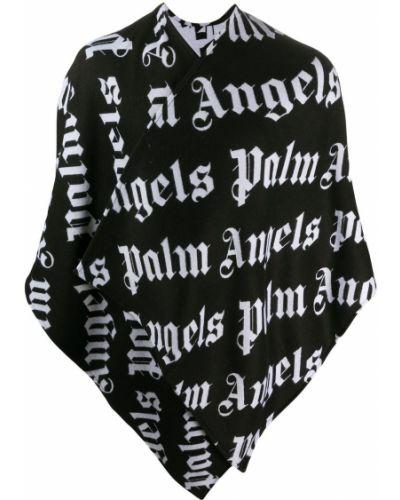 Bawełna asymetryczny czarny wełniany peleryna Palm Angels