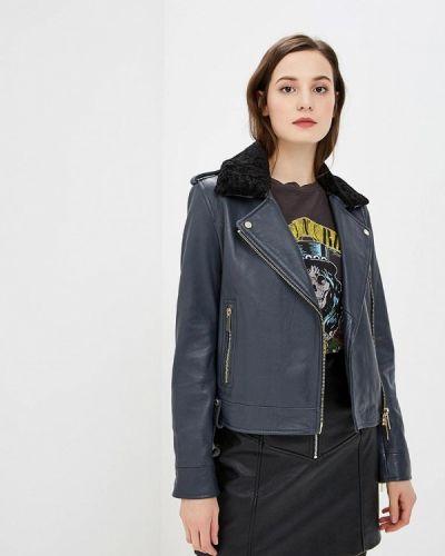 Кожаная куртка осенняя синий Oakwood