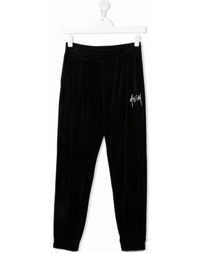 Czarne spodnie z haftem Msgm Kids