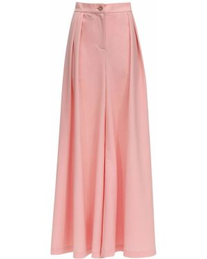 Różowe spodnie z wysokim stanem wełniane Lesyanebo