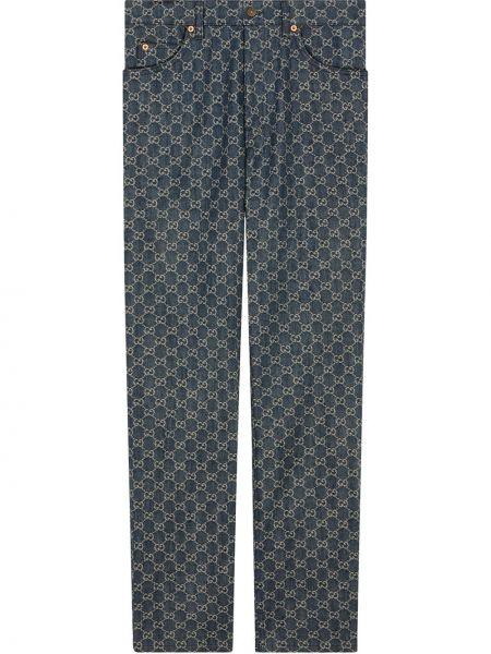 Bawełna bawełna niebieski klasyczne spodnie z kieszeniami Gucci