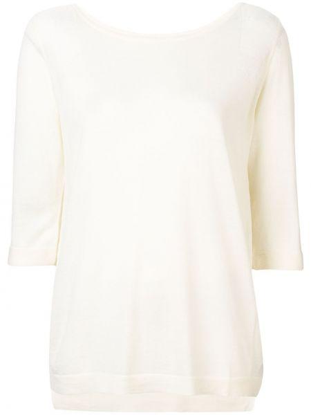 Шерстяной белый свитер с вырезом Sottomettimi