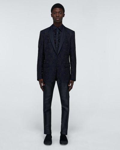 Шелковая черная рубашка на пуговицах Dolce & Gabbana