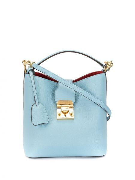 Кожаная золотистая синяя сумка через плечо с перьями Mark Cross
