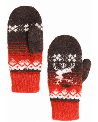 Перчатки шерстяные красный Finn Flare