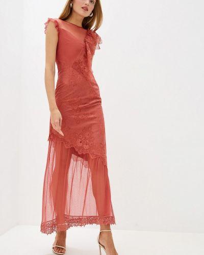 Вечернее платье коралловый красный Three Floor