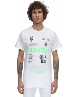 Biały t-shirt bawełniany z printem Taboo