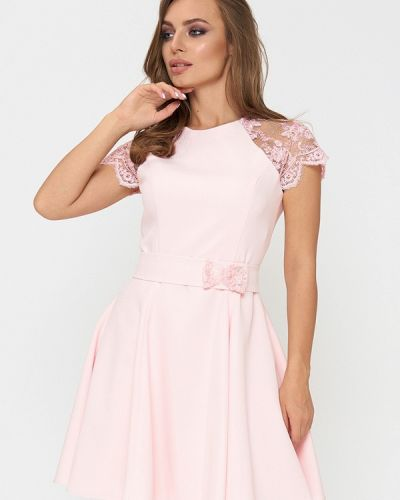 Коктейльное платье весеннее розовое Sellin