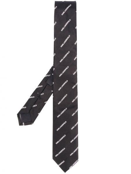 Czarny krawat z jedwabiu z haftem Karl Lagerfeld
