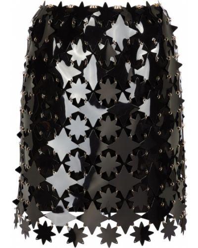 Черная юбка с пайетками Paco Rabanne