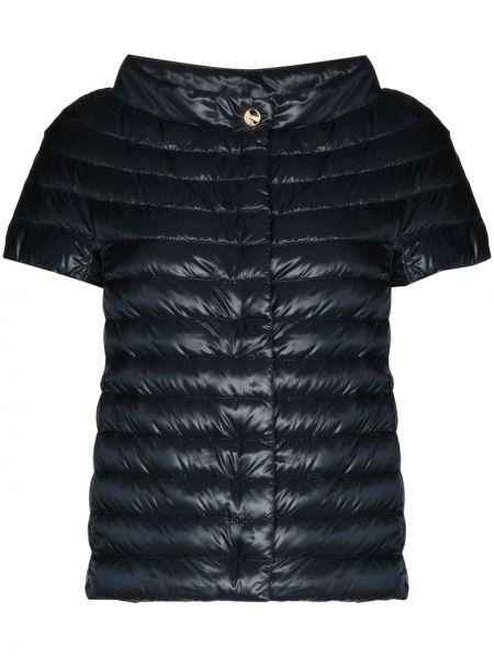 Синяя дутая куртка с перьями Herno