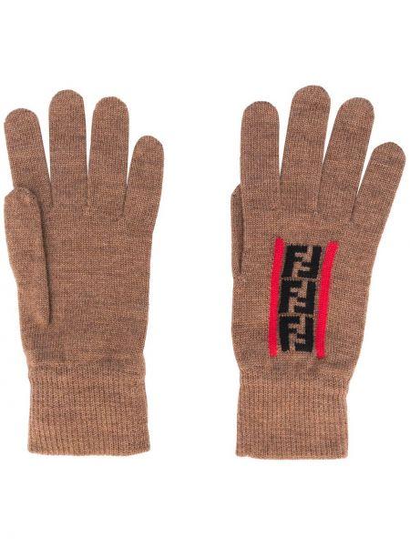 Trykotowy wełniany czarny rękawiczki przycięte Fendi
