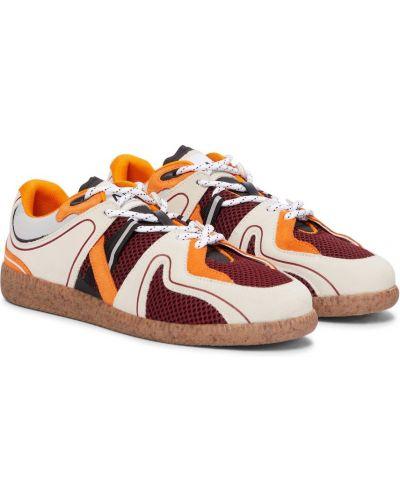 Оранжевые кожаные кроссовки винтажные Ganni