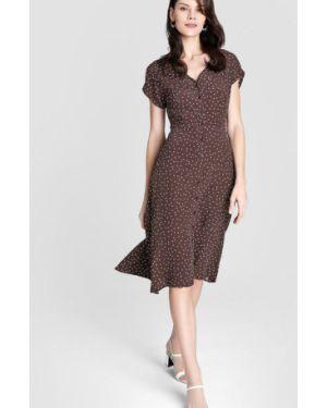 Расклешенное платье на пуговицах с V-образным вырезом из крепа Ostin