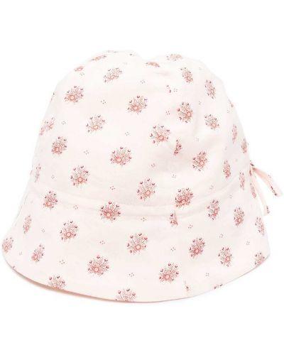 Różowy kapelusz bawełniany z haftem Bonpoint
