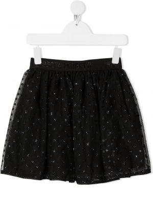 Черная юбка из фатина с глиттером Alberta Ferretti Kids
