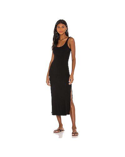 Хлопковое черное платье миди Vitamin A