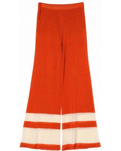 Оранжевые расклешенные брюки на резинке Stefanel