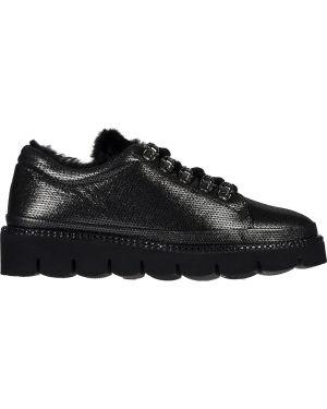 Кожаные кроссовки - серебряные Lab-milano