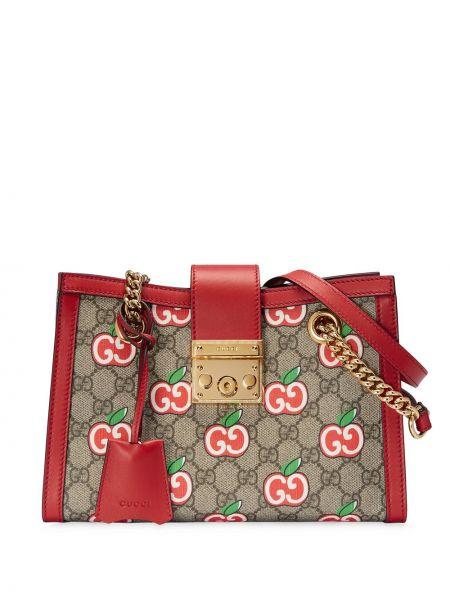 Otwarty brezentowy torebka na łańcuszku z kieszeniami złoto Gucci