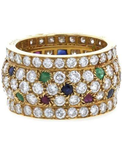 Золотистое кольцо с бриллиантом золотое Cartier