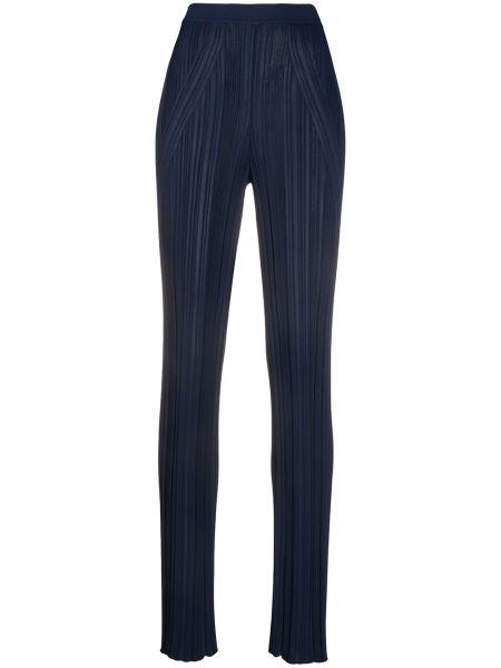 Синие плиссированные брюки с поясом из вискозы Gentry Portofino