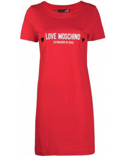 Прямое с рукавами красное платье мини Love Moschino