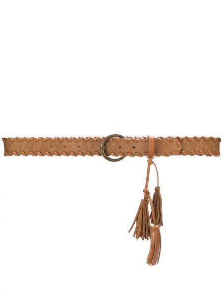 Коричневый кожаный ремень с пряжкой с поясом Twin-set
