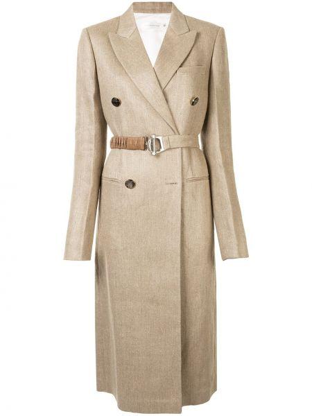 Коричневое длинное пальто с капюшоном двубортное Victoria Beckham
