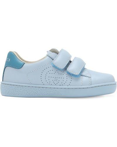 Z paskiem niebieski skórzany sneakersy Gucci