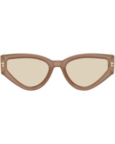 Кожаные розовые солнцезащитные очки с тиснением Dior