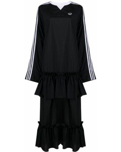 Расклешенное черное платье макси с вырезом Adidas