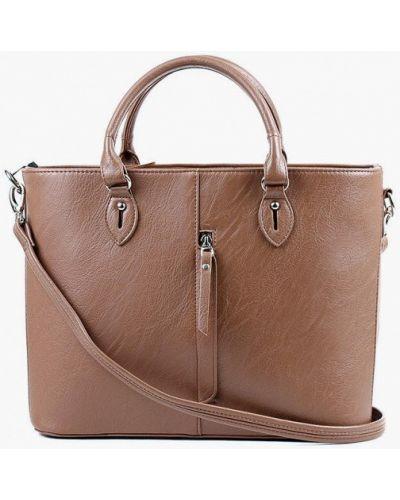 Кожаная коричневая сумка с ручками медведково