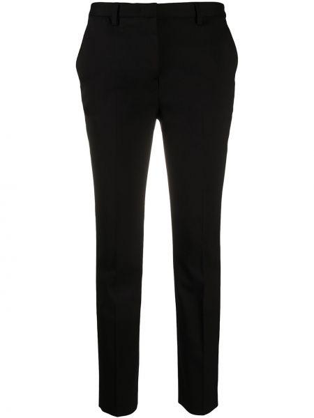 Шерстяные прямые черные прямые брюки на крючках Lardini