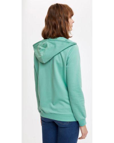 Зеленый свитер с капюшоном на молнии Defacto