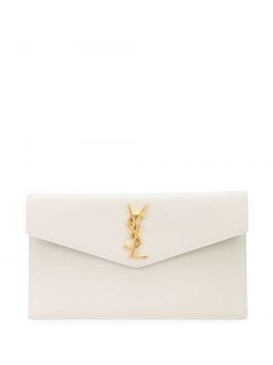 Золотистая белая кожаная сумка среднего размера Saint Laurent