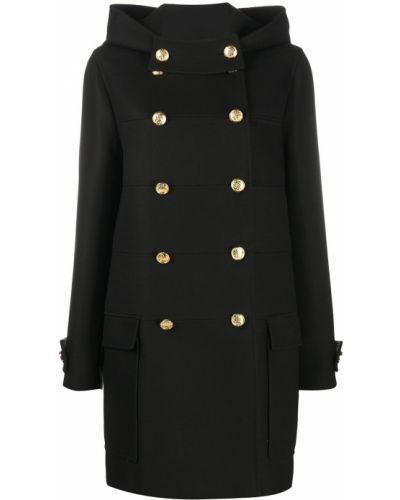 С рукавами черное пальто с капюшоном на пуговицах двубортное Mulberry