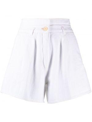 Хлопковые белые с завышенной талией шорты Forte Forte