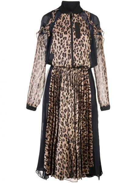 Платье макси леопардовое с прозрачными рукавами Sacai