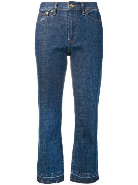 Укороченные джинсы расклешенные синие Tory Burch