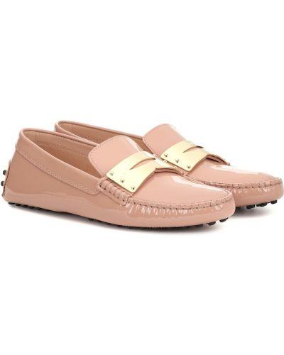Z paskiem skórzany różowy loafers na paskach Tod's