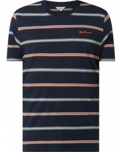 Niebieski t-shirt bawełniany w paski Ben Sherman