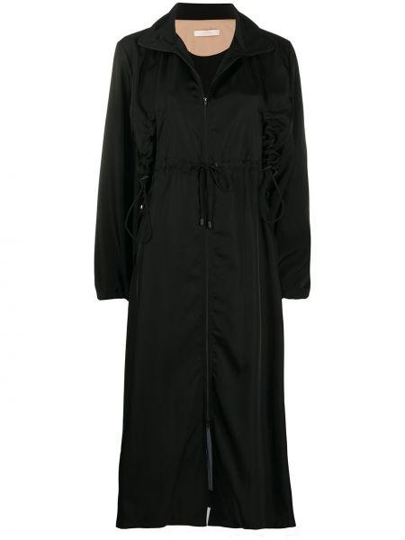 С кулиской с рукавами черное пальто на молнии Ssheena