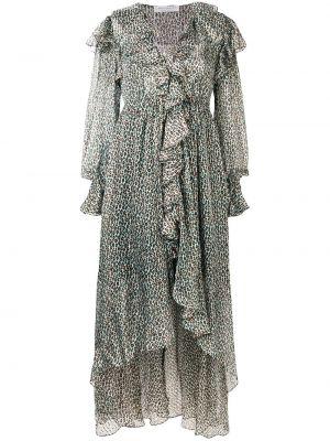 Шелковое платье макси - синее Philosophy Di Lorenzo Serafini