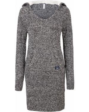 Теплое платье с капюшоном вязаное Bonprix